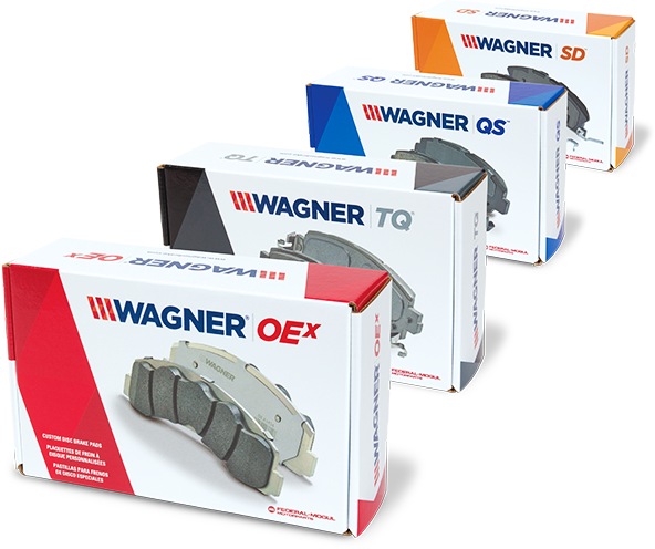 front family product view of brake pads by wagner