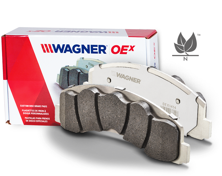 product front view of OEx brake pads by Wagner