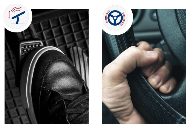 A shoe pressing a brake peddle down on the left side, and on the right there is a hand is firmly grasping a steering wheel to show that it is shaking as you press the brake peddle down.